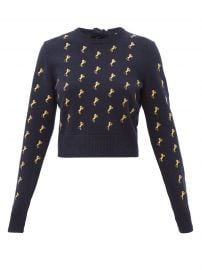 chloe Horse-embroidered wool-blend sweater at Matches