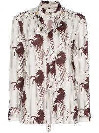 chloe horse print necktie shirt at Farfetch