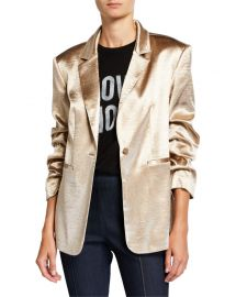 cinq a sept Kylie Ruched-Sleeve Satin Blazer at Neiman Marcus