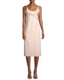 cinq a sept Amina Scoop-Neck Sleeveless A-Line Dress w  Ruched Bodice at Neiman Marcus