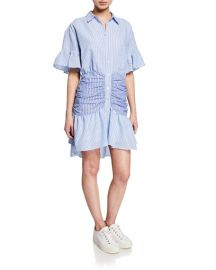 cinq a sept Asher Striped Short-Sleeve Shirt Dress at Neiman Marcus