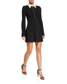 cinq a sept Aubrey Long-Sleeve Dress w  Embellished Collar at Neiman Marcus