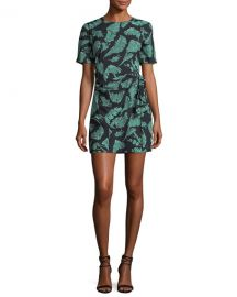 cinq a sept Bia Crewneck Tie-Side Palm-Print Mini Dress at Neiman Marcus