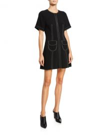 cinq a sept Caroline Zip-Front Pocket Dress at Neiman Marcus