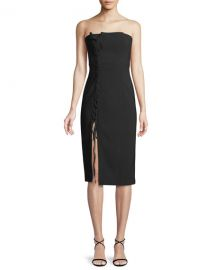 cinq a sept Charlotte Strapless Lace-Up Midi Dress at Neiman Marcus