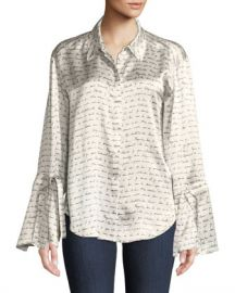 cinq a sept Elisia Printed Silk Button-Front Top at Neiman Marcus