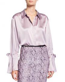 cinq a sept Elisia Tie-Sleeve Silk Top at Neiman Marcus