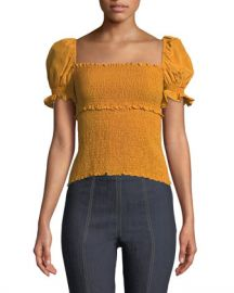 cinq a sept Ellis Smocked Short-Sleeve Top at Neiman Marcus
