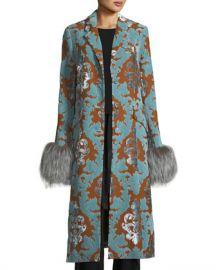 cinq a sept Ember Velvet Damask Long Coat w  Fur Cuffs at Neiman Marcus