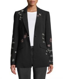 cinq a sept Estelle Embroidered One-Button Jacket at Neiman Marcus