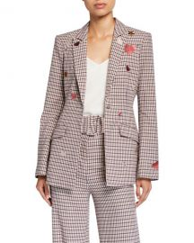 cinq a sept Estelle One-Button Check Blazer with Embroidery at Neiman Marcus