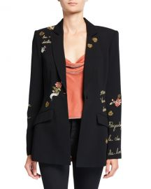 cinq a sept Estelle Paisley Love Letter Embroidered Crepe Blazer at Neiman Marcus