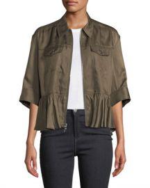 cinq a sept Helene Short-Sleeve Cropped Peplum Jacket at Neiman Marcus