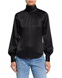 cinq a sept Jayla Silk Pleated Turtleneck Top at Neiman Marcus
