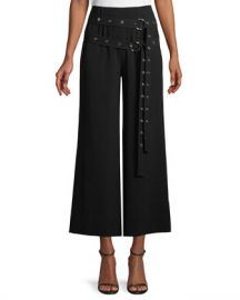 cinq a sept Jessi Buckle Wide-Leg Cropped Pants at Neiman Marcus