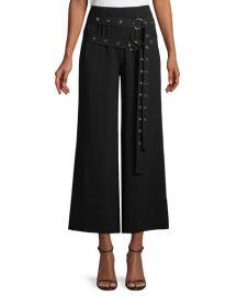 cinq a sept Jessi Buckle Wide-Leg Cropped Pants at Neiman Marcus