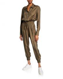 cinq a sept Joyce Long-Sleeve Button-Front Jogger Jumpsuit at Neiman Marcus