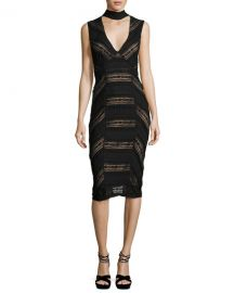 cinq a sept Kora Lace Choker Sheath Dress  Black   Neiman Marcus at Neiman Marcus