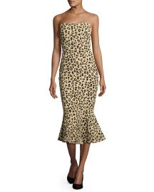 cinq a sept Luna Leopard-Print Strapless Mermaid Dress  Black Tan at Neiman Marcus