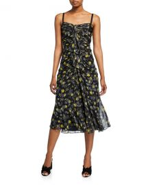 cinq a sept Margot Floral-Print Shirred Midi Silk Dress at Neiman Marcus