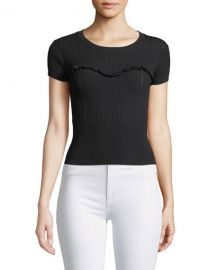 cinq a sept Marina Ribbed Ruffle Tee at Neiman Marcus