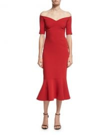 cinq a sept Marta Off-the-Shoulder Peplum-Hem Midi Dress  Red at Neiman Marcus