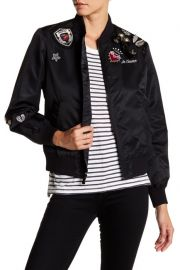 cinq a sept Mercer Faux Pearl and Rhinestone Embellished Patchwork Bomber Jacket at Nordstrom Rack