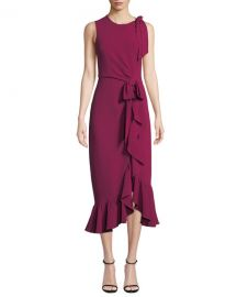 cinq a sept Nanon Crepe Ruffle Sleeveless Cocktail Dress at Neiman Marcus
