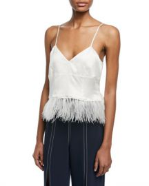 cinq a sept Narcissa V-Neck Silk Satin Tank with Feather Hem at Neiman Marcus