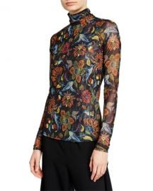 cinq a sept Paisley Long-Sleeve Turtleneck Top at Neiman Marcus
