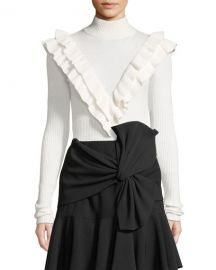 cinq a sept Palomino Ruffle Turtleneck Pullover Sweater at Neiman Marcus