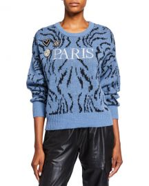 cinq a sept Paris Applique Wool Sweater at Neiman Marcus