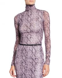 cinq a sept Python-Print Long-Sleeve Turtleneck Sweater at Neiman Marcus