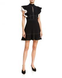 cinq a sept Reika Flutter-Sleeve Crepe Dress at Neiman Marcus