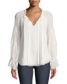 cinq a sept Romy Silk Bell-Sleeve Blouse at Neiman Marcus