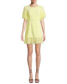 cinq a sept Rosaria Crewneck Short-Sleeve Sheath Dress w  Pleated Chiffon Trim at Neiman Marcus