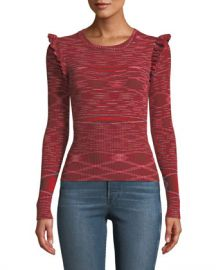 cinq a sept Salma Ruffle-Trim Long-Sleeve Top at Neiman Marcus