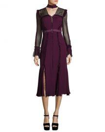 cinq a sept Senna Silk Button-Front Midi Dress  Plum   Neiman Marcus at Neiman Marcus
