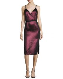 cinq a sept Soleil Metallic Strappy Cocktail Dress at Neiman Marcus