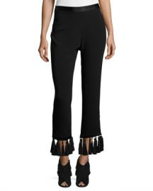 cinq a sept Tash Tassel-Hem Straight-Leg Pants at Neiman Marcus