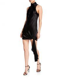 cinq a sept denise turtleneck mini tie-hem satin dress at Neiman Marcus