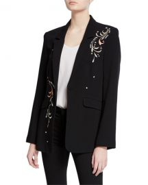 cinq a sept estelle embroidered one-button crepe blazer at Neiman Marcus