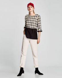 contrasting tweed top at Zara