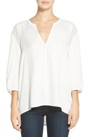 cooper andamp ellaand160and39Estherand39 Crepe Split Neck Blouse in White at Nordstrom