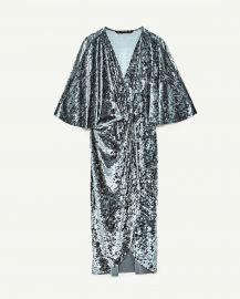 crossover velvet dress at Zara