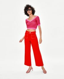 culottes with topstitching at Zara