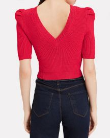 cushnie Pleated Sleeve Knit Crop Top at Intermix