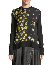 derek lam CREWNECK LONG-SLEEVE MIXED-PRINT SILK-COTTON PULLOVER SWEATER at Neiman Marcus