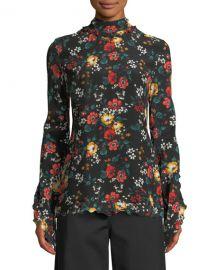 derek lam Mock-Neck Long-Sleeve Floral-Print Silk Blouse at Bergdorf Goodman