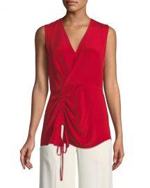derek lam V-Neck Sleeveless Asymmetrical-Ruched Silk Blouse at Bergdorf Goodman